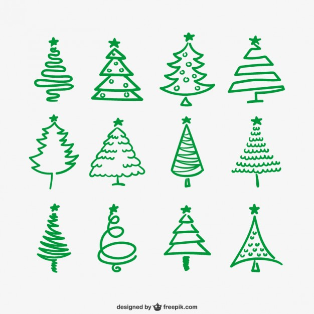 626x626 Green Christmas Trees Outlines Free Vectors Ui Download