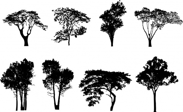 600x368 Vector Tree Silhouette Free Vector Download (10,037 Free Vector