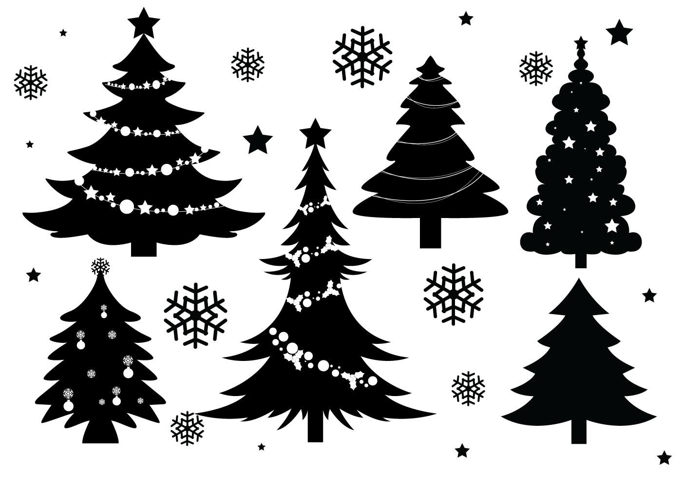 1400x980 Christmas Tree Silhouette Vectors