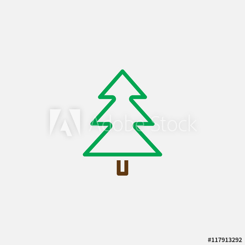 500x500 Spruce Line Icon, Tree Outline Vector Logo Illustration, Linear