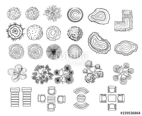 500x410 Set Of Tree Top Symbols, For Architectural Or Landscape Design