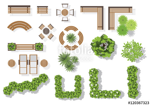 500x350 Set Of Vector Wooden Benches And Treetop Symbols. Collection For