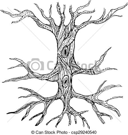 446x470 Ornate Bare Tree Trunk With Roots. Vector Illustration.
