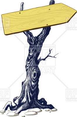 263x400 Signboard Nailed To The Tree Trunk Vector Image Vector Artwork
