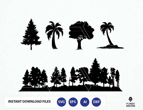 570x440 Forest Svg File. Trees Svg. Trees Silhouette