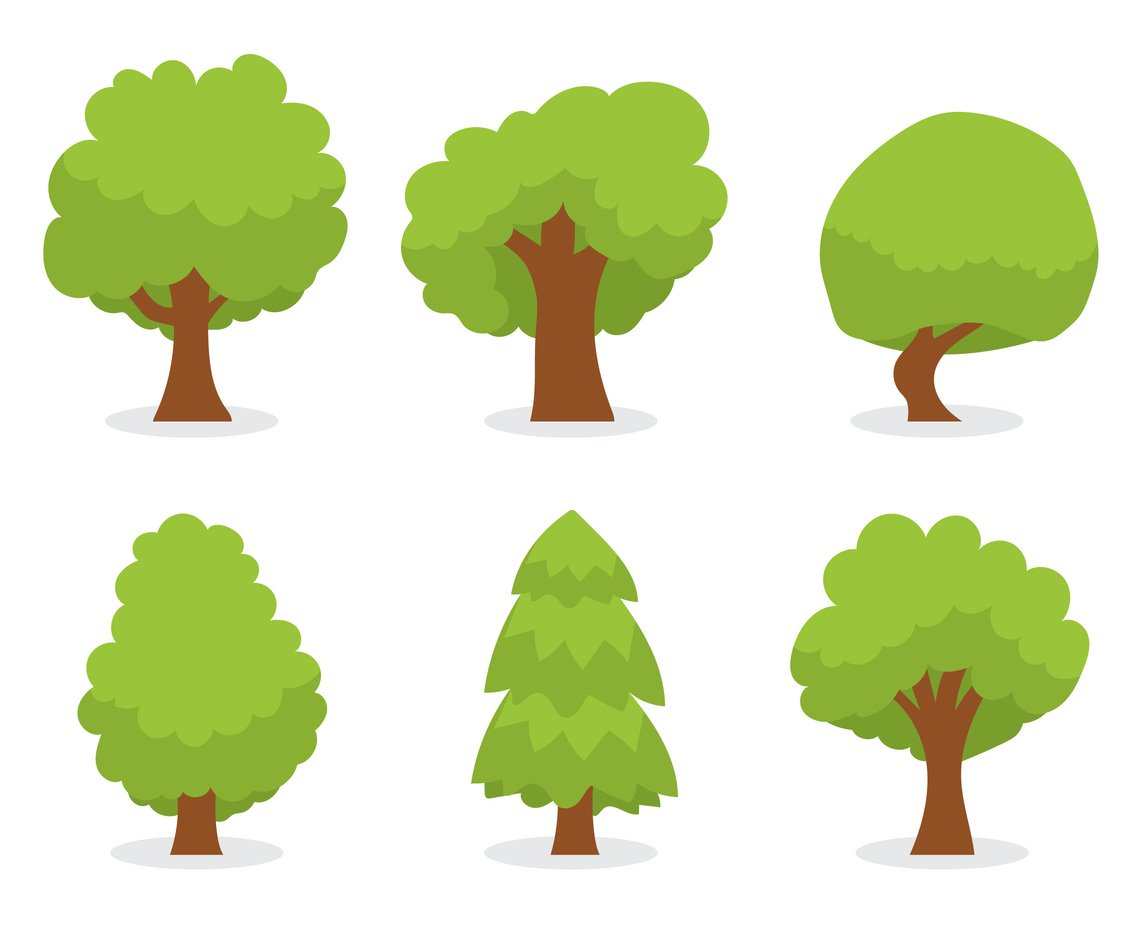 1136x936 Green Cartoon Tree Vector Set Vector Art Amp Graphics