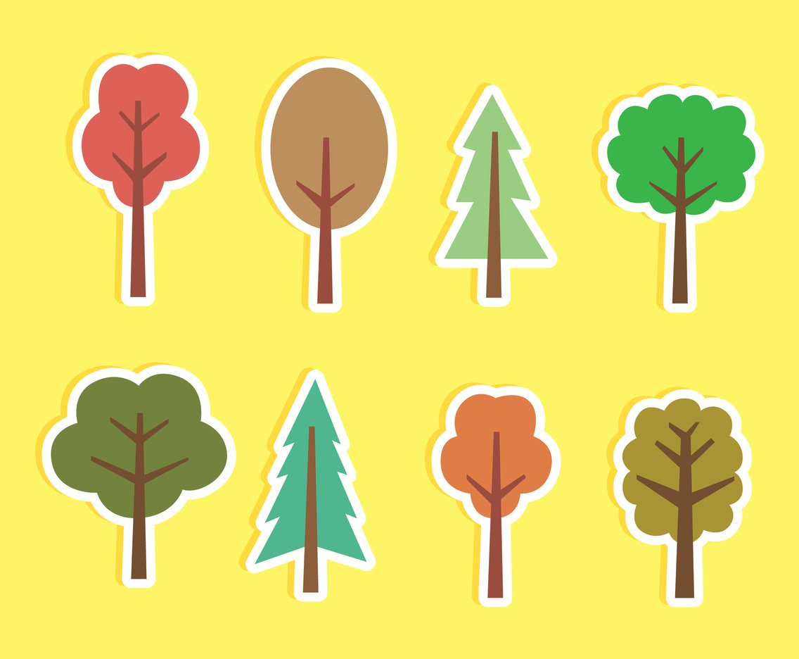 1136x936 Cartoon Tree Vector Set Vector Art Amp Graphics