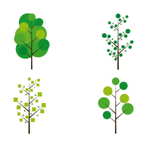 500x500 Cute Tree Vector Illustration Set 02 Free Download