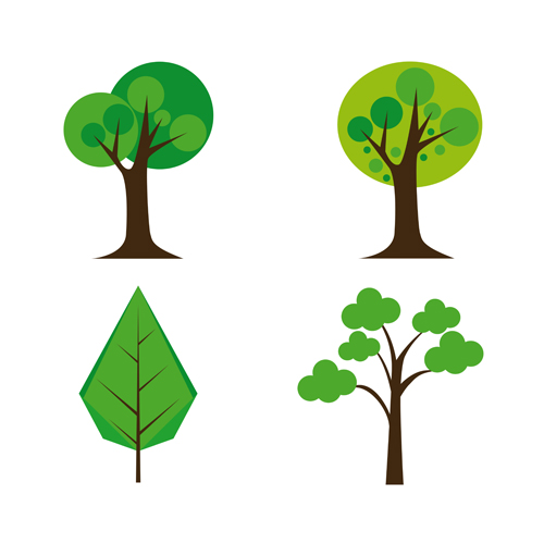 500x500 Cute Tree Vector Illustration Set 03 Free Download