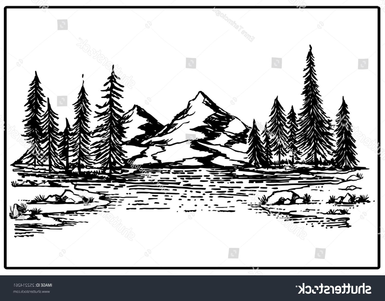 1500x1171 Hd Silhouette Of Mountains And Trees Vector Cdr Free Vector Art