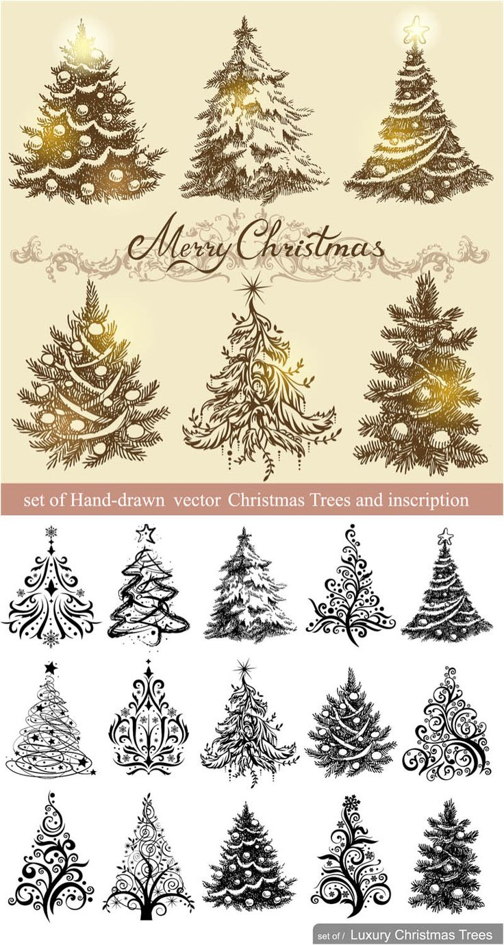 736x1380 Drawn Christmas Christmas Tree