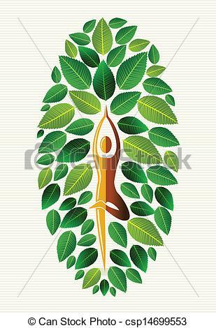 309x470 India Yoga Leaf Tree. Yoga Exercise Human Leaf Tree Design. Vector