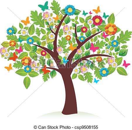 450x442 Abstract Spring Time Tree Composition With Flowers. Vector File