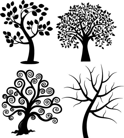 505x561 Spiral Tree Silhouette Vectors (.eps) Vector File Free Download