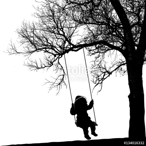 500x500 Little Girl On Swing Under A Tree. Realistic Silhouette Of A Girl