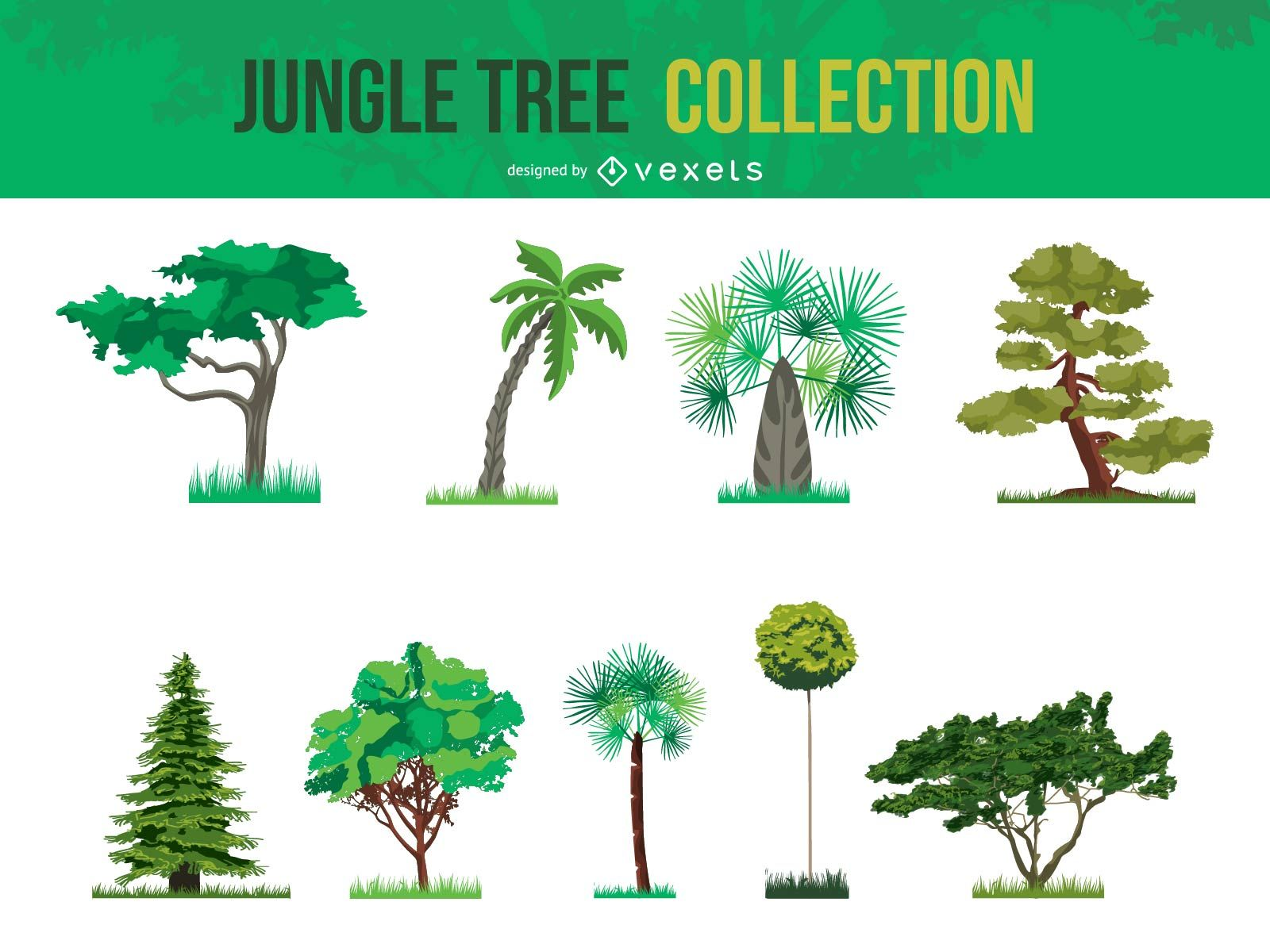 1600x1200 Vector Jungle Tree Collection