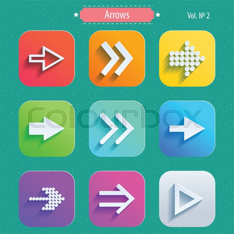 800x800 Set Arrow Icons, Flat Ui Design Trend, Vector Illustration Of Web