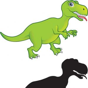 300x300 T Rex Cartoon And Silhouette Vector Rongholland