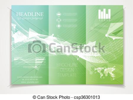 450x337 Tri Fold Brochure Vector Design Template. Corporate Flyer With Low