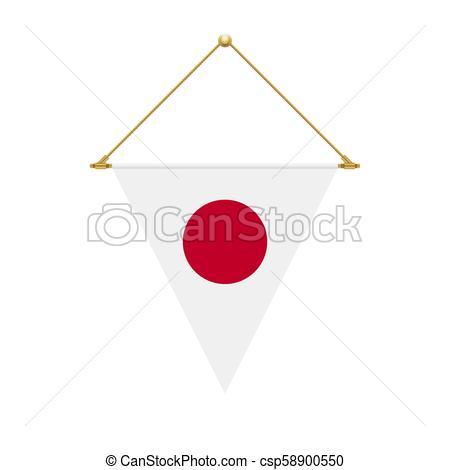 450x470 Japanese Triangle Flag Hanging, Vector Illustration. Flag Design