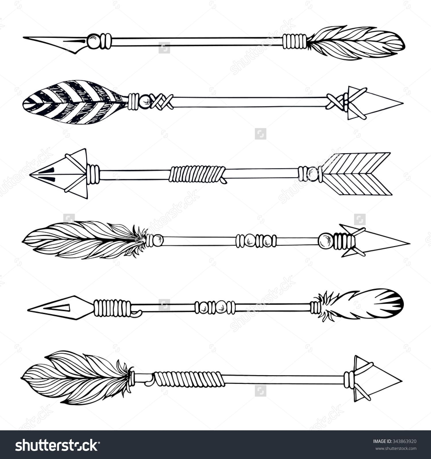 1500x1600 Tribal Indian Arrow Set. Ethnic Hand Drawn Vector Illustration