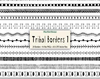340x270 Vector Tribal Frames Tribal Frames Doodle Etsy
