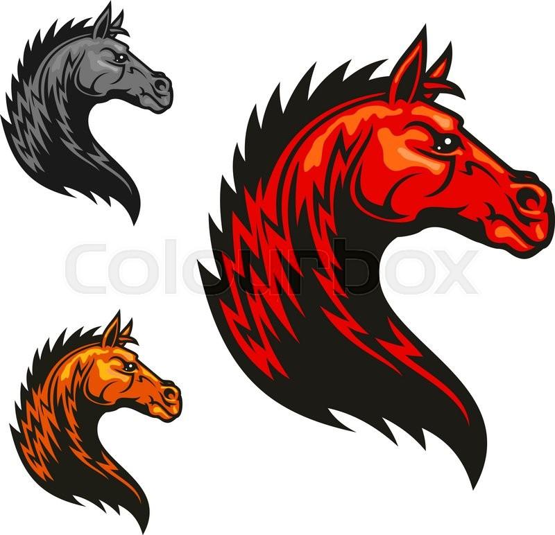 800x772 Powerful Tribal Stallion Cartoon Symbol For Motorsport Theme Or