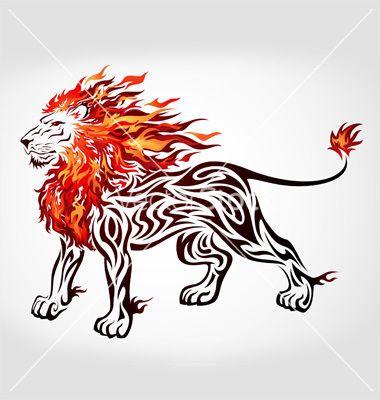 380x400 Tribal Flame Lion Vector On Design Inspiration