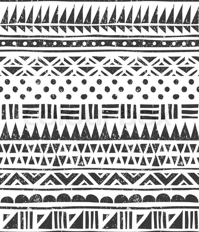 685x800 Seamless Tribal Pattern. Abstract Block Print. Eps 10 Vector