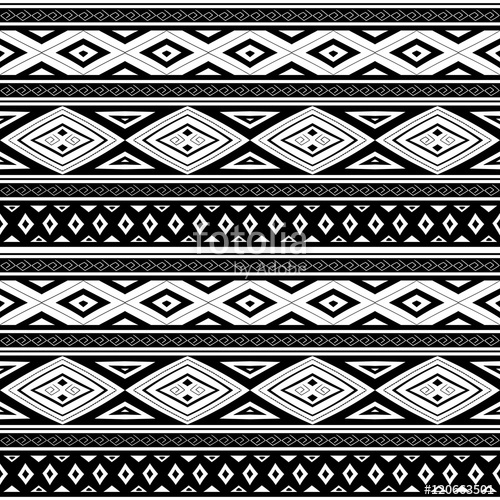 500x500 Tribal Pattern Seamless Vector. Ethnic Peruvian Monochrome Print