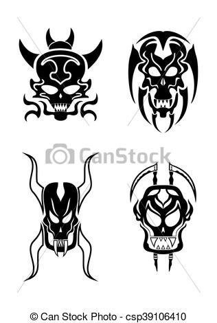 316x470 Skull Vector Tribal Tattoo Set. Skull Tribal Tattoo Set.