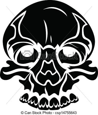 399x470 Drawing Art Of Scary Cartoon Tribal Skull Face Vector Illustration.
