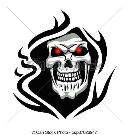 450x470 Skull Tribal Tattoo.grim Reaper Tattoo.