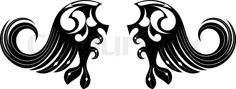 800x303 Graphic Design Tribal Tattoo Wings Stock Vector Colourbox
