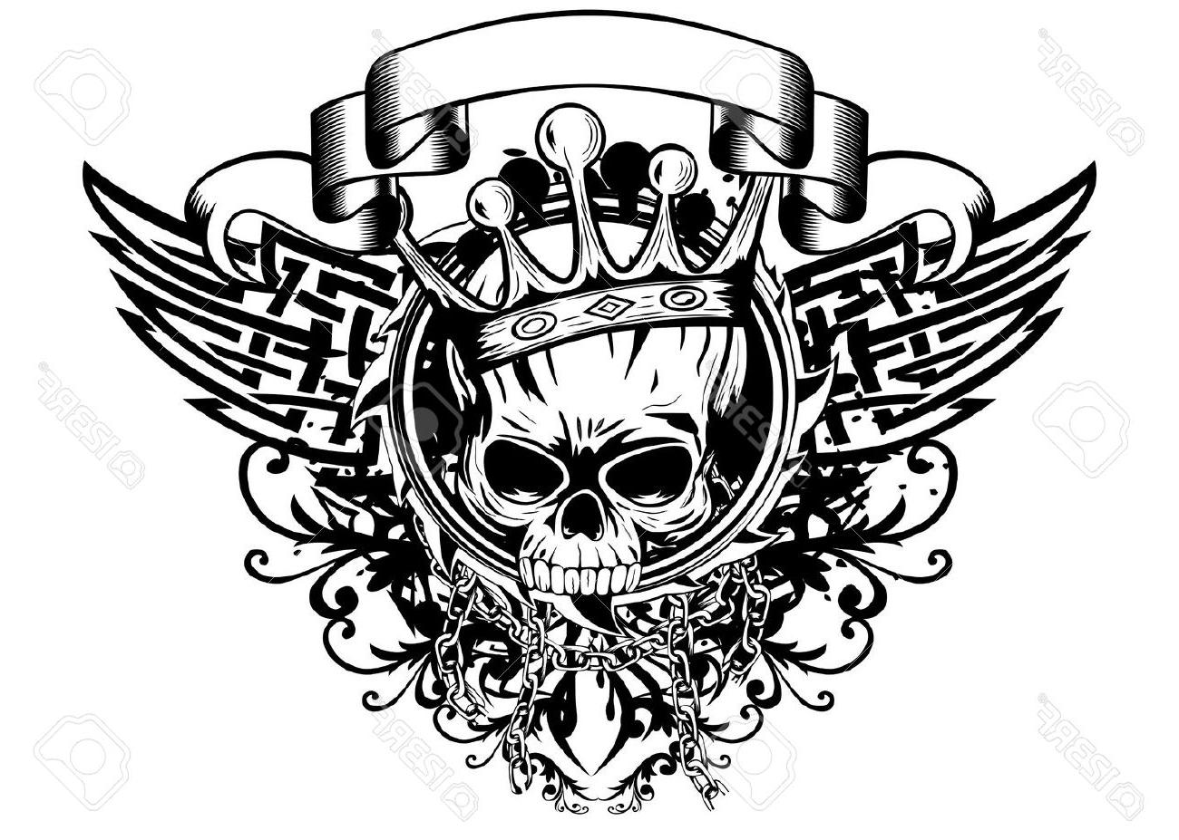 1300x927 Hd Illustration Skull With Crown Tribal Wings Photos