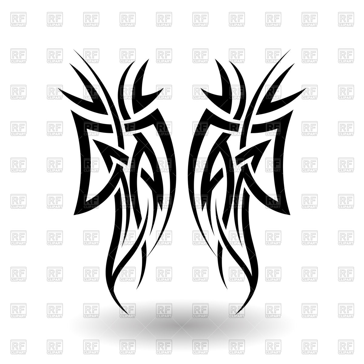 1200x1200 Hand Drawn Tribal Tattoo Wings Vector Image Vector Artwork Of