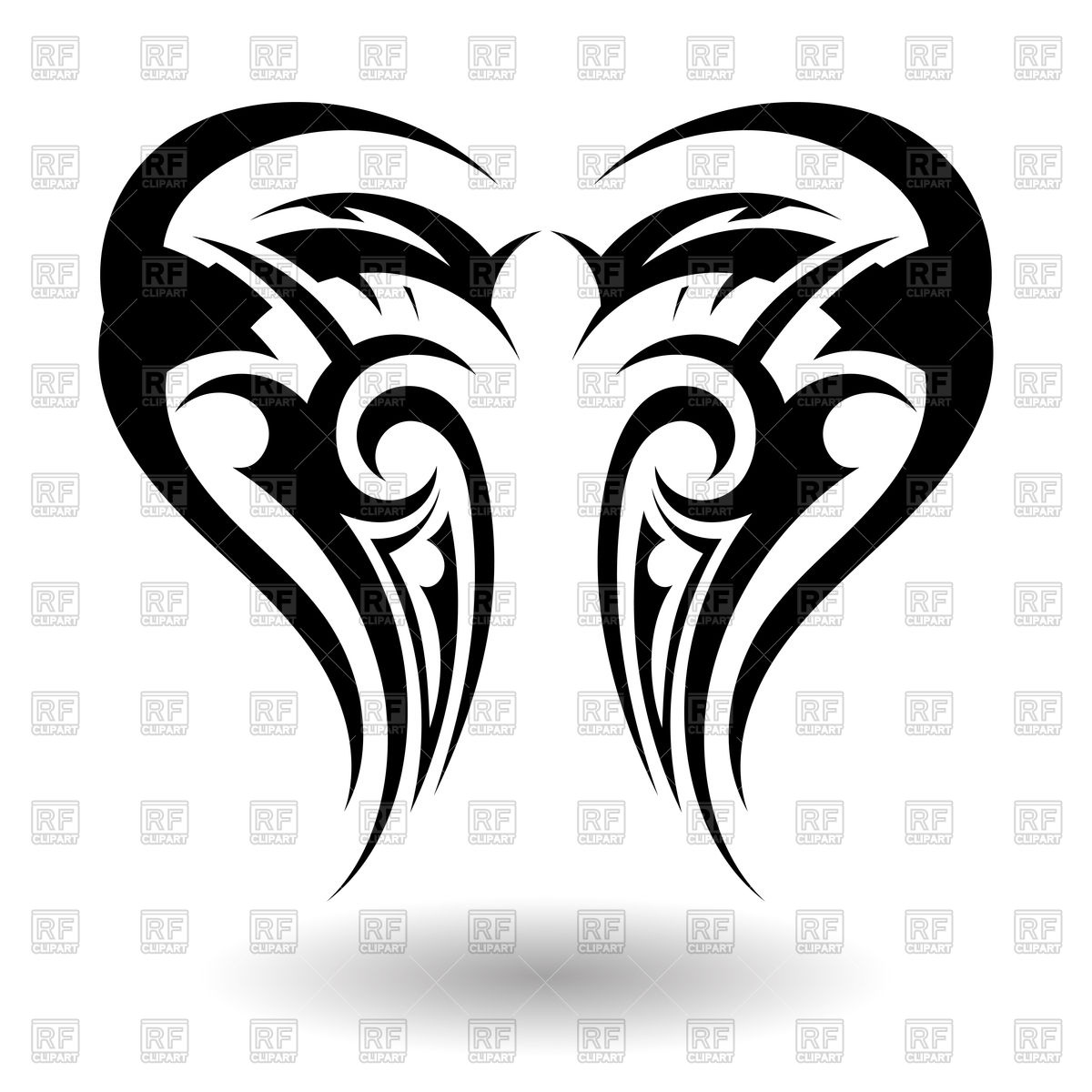 1200x1200 Hand Drawn Tribal Wings Tattoo Vector Image Vector Artwork Of