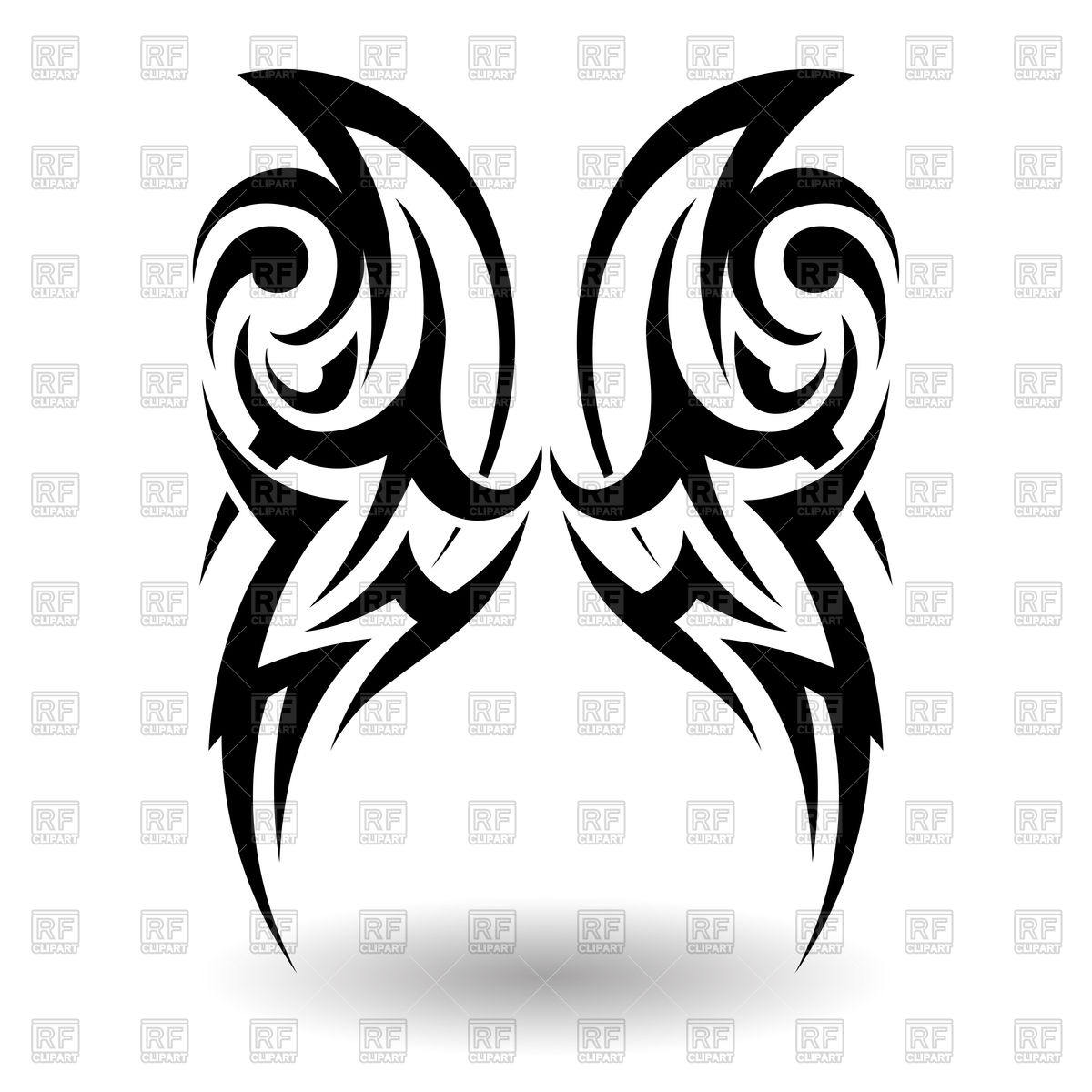 1200x1200 Hand Drawn Wings Tribal Tattoo Vector Image Vector Artwork Of