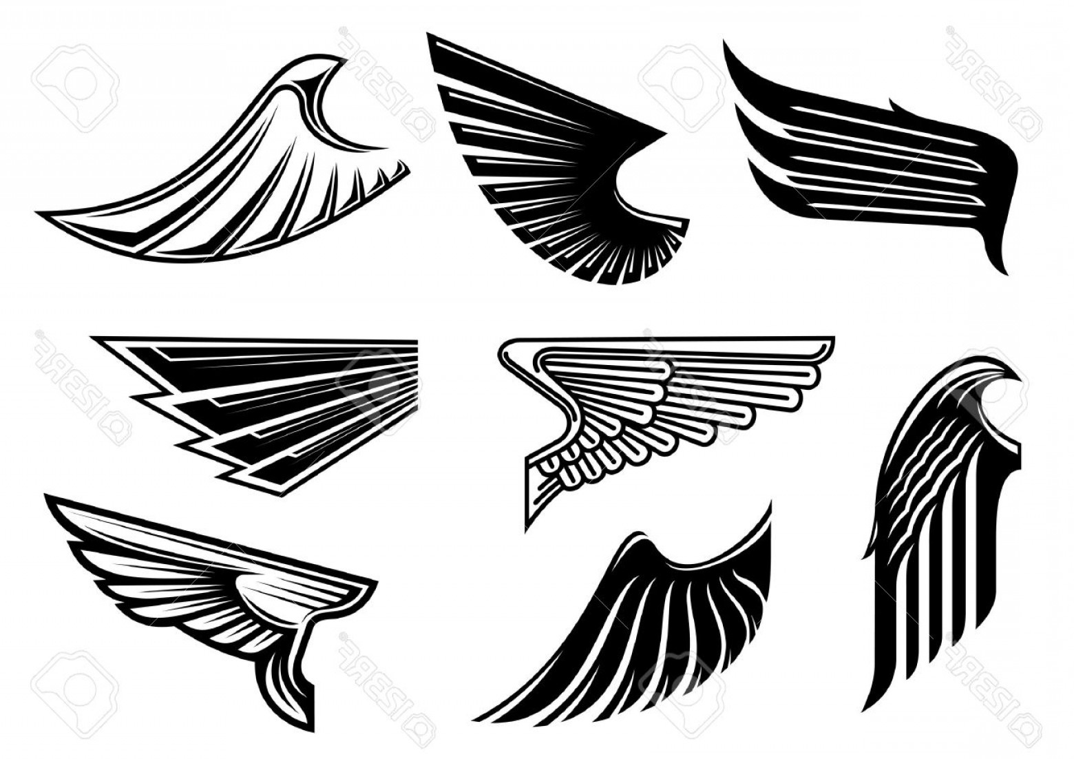 1560x1102 Photostock Vector Black Tribal Wings With Pointed Feathering