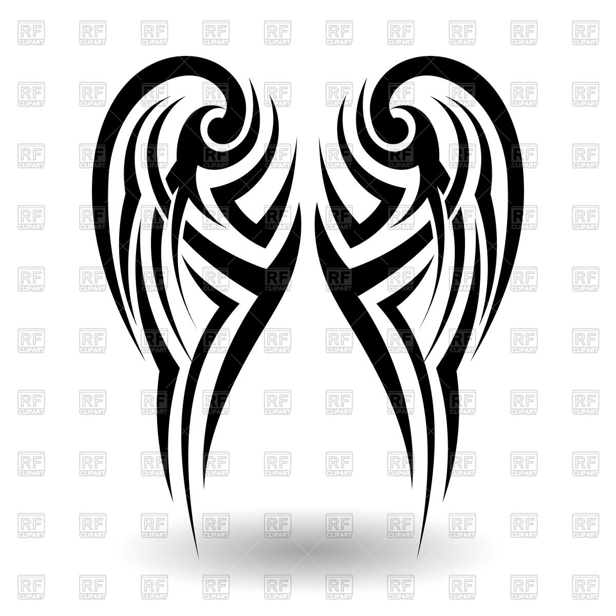 1200x1200 Tribal Tattoo In Wings Shape Vector Image Vector Artwork Of