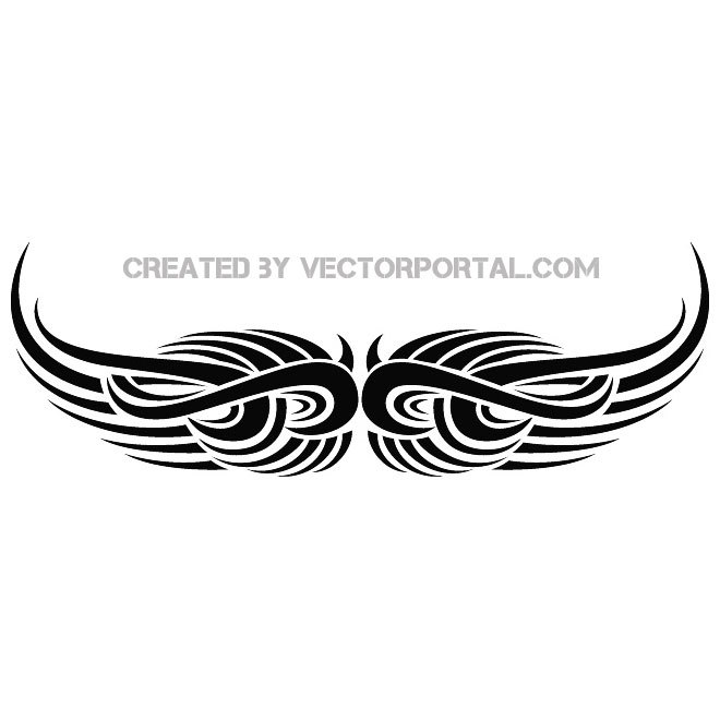 660x660 Wings Tribal Tattoo Free Vector 123freevectors