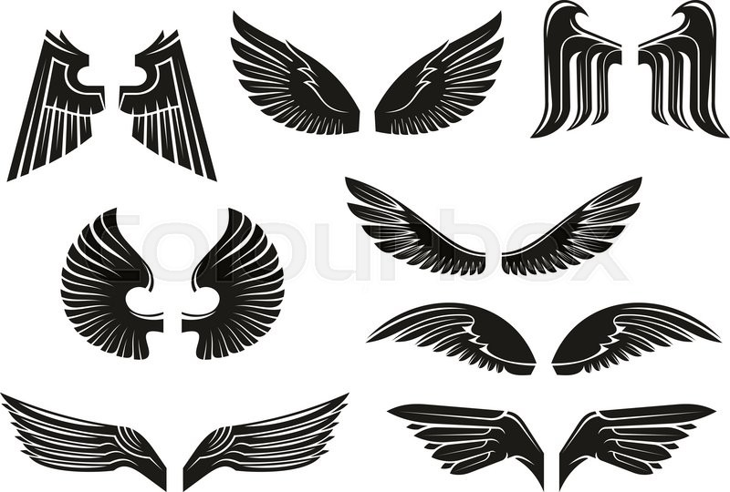 800x540 Black Heraldic Wings Set In Tribal Style For Tattoo And Book