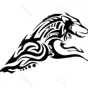 300x300 Photostock Vector Half Body Of Aggressive Wolf Jumping Tribal