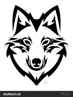 236x314 Tribal Wolf Head Vector Podstavka Zagotovki Tribal
