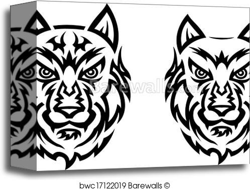 498x379 Canvas Print Of Tribal Wolf Tattoo Barewalls Posters Amp Prints
