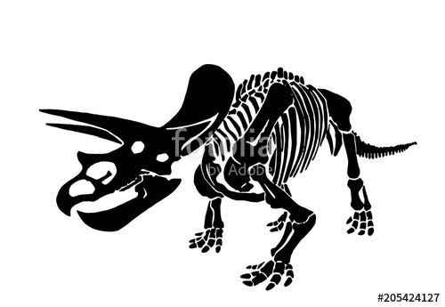 500x345 Graphical Dinosaur Skeleton Isolated On White Background,vector