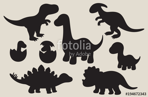 500x327 Vector Illustration Of Dinosaur Silhouette Including Stegosaurus