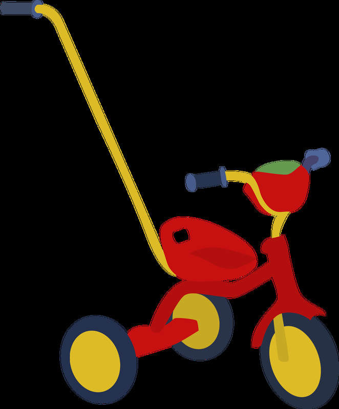 662x800 Red Tricycle Vector Clipart Image