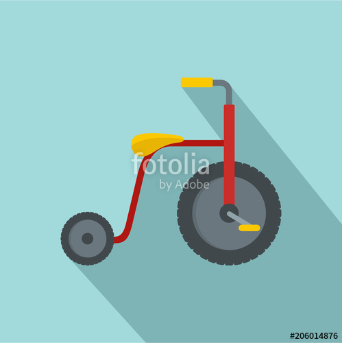 499x500 Red Tricycle Icon. Flat Illustration Of Red Tricycle Vector Icon
