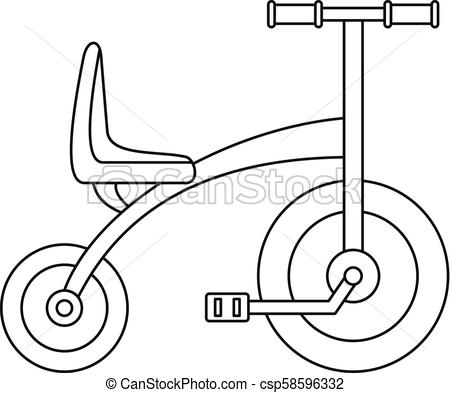 450x393 Tricycle Icon, Outline Style. Tricycle Icon. Outline Tricycle